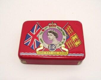 1953 Queen Elizabeth II Coronation OXO Souvenir Tin Vintage Royalty