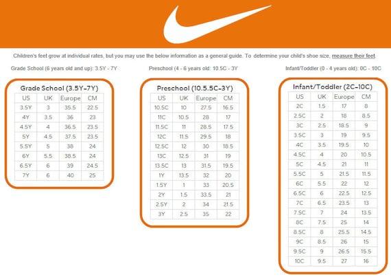 Nike Shoe Size Chart Uk