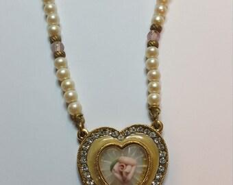 "Vintage 1980's ""1928"" Pearl & Crystal Flower Heart Pendant"