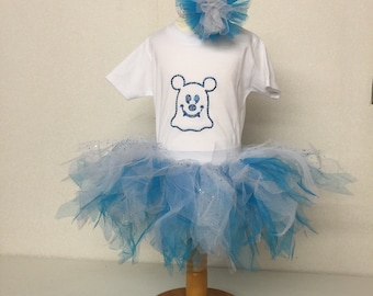 Micky Minnie Blue Ghost Halloween Fancy Dress Party Costume Tutu Set Baby Kids Toddler Bling Top