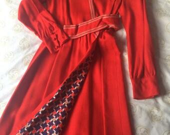 70 s Dress / Wrap Dress / 1970 s Coat Dress / Vintage