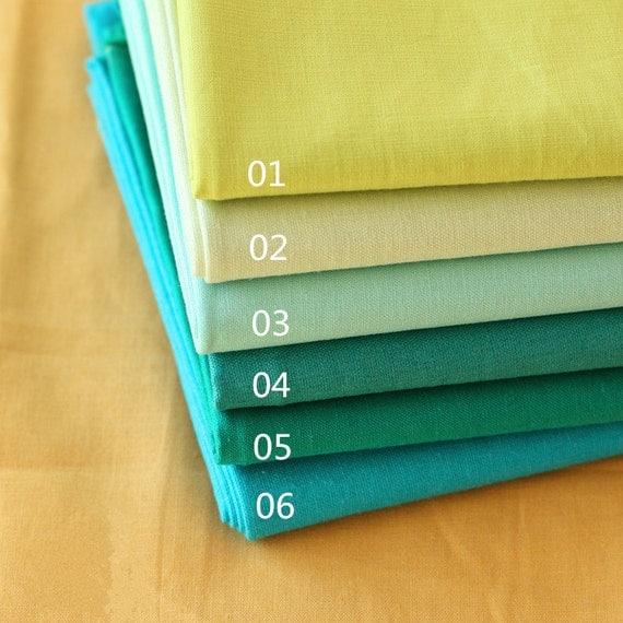 Six Solid Pastel Color Green Blue Linen Cotton Fabric