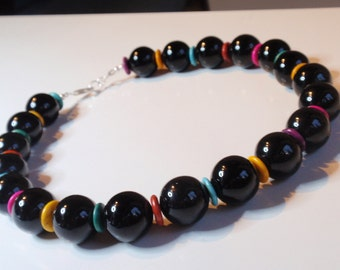 Black Onyx Necklace with multicolor Howlitz Buttons (JK 640f)