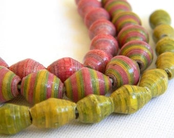 Paper Bead Jewelry Supplies - Paper Beads - Hand painted - Lot of 30 - #B407