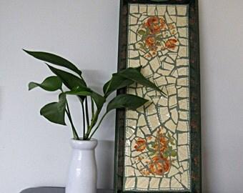 Orange Flower Pattern Mosaic Tray