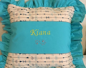 """Handmade, personalized,  ruffle, pillow cover with insert 16"""" x 16"""" , CIJ, product ID# G-099"""