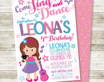 """Dance Party Invitation - Sweet Rocker Girl, Singing and Dancing Little Girl's Birthday Party DIY Printable Invitation, 5"""" x 7"""""""