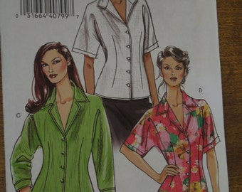 Vogue V8248, sizes 6-12, tops, shirts, blouses, UNCUT sewing pattern, craft supplies, misses, petite, womens