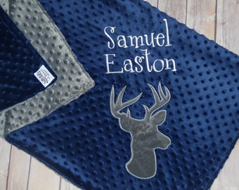 Buck- Personalized Minky Baby Blanket - Navy / Grey Minky - Embroidered Buck