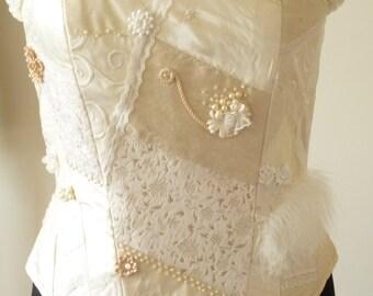 SALE...Champagne bridal corset with crazy patchwork detail.Steampunk corset. Victorian corset. Wedding corset...SALE... SALE...