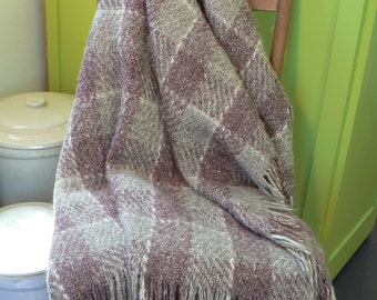 Wool blanket, Stadium blanket, wool throw, Kennebunk Weavers, Lodge decor, cabin decor, Vintage wool blanket, plaid blanket, Mauve and gray