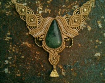 SISTER of the Forest Magic Godess JADE Collier Gipsy Boho Necklace Healing Bohemian Jewelry