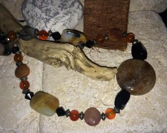 Agate, Black Onyx, Carnelian Semi Precious Gemstone Necklace
