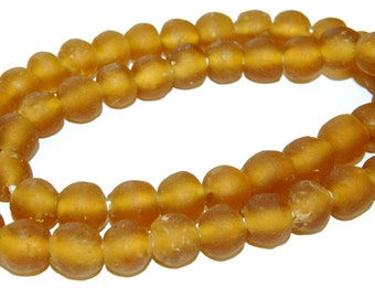 Recycled Glass Beads - Amber Glass Beads 14mm - African Beads - Eco-Friendly-  Made in Ghana- amber round beads - 10 Beads