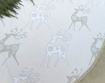 christmas deer christmas tree skirt reindeer silver deer christmas silver christmas decor silver ornament deer ornament - Silver Christmas Tree Skirt