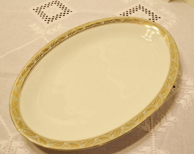 Vintage Noritake Greta 5272 Oval Platter 16 inch White Gold Gray Leaf Design Discontinued Pattern PanchosPorch