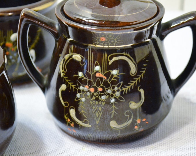 Vintage Redware Sugar Bowl and Cups Chocolate Brown Floral Design Japan PanchosPorch