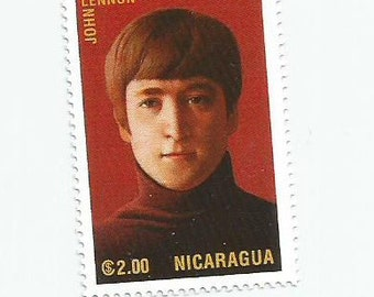 1 John Lennon of the Beatles mint postage stamp from Nicaragua