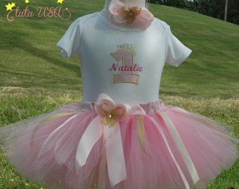 1st Birthday Girl Outfit/ First Birthday Outfit Girl,Number One Gold and Pink Tutu/1st Birthday Onesie/Number One Birthday Outfit