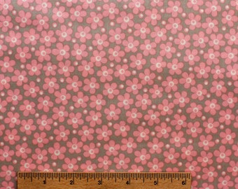 "14"" remnant Jenean Morrison fabric Wild World Flowerchild JM32 Carnation pink grey floral Sewing/Quilting fabric cotton Free Spirit"