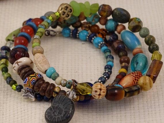 Memory Wire Large Bracelet-Multi color-Bohemian-pewter-Hippie Wrap Bracelet-Turquoise-African Trade Beads-Millefiori-Carnelian Sol Designs