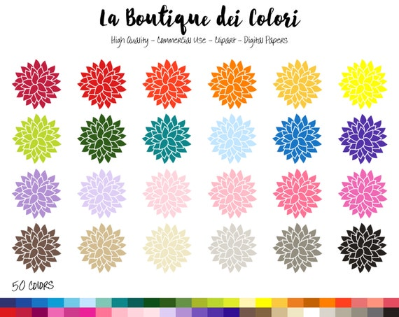 Clip Art Dahlia Flower Floral Spring Digital Illustraions In 50 Rainbow Colors Petals Flowers PNG Clipart Image Commercial Use From LaBoutiqueDeiColori