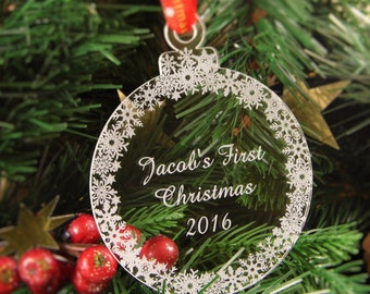 Personalised Christmas Tree Decoration Engraved Bauble Gift - Christmas Wedding Favour, First Christmas Bauble - first_christmas