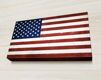 American Flag Wall art, Veterans Gift, Fourth of July, Vintage Letterpress Style, Ready to Hang, US Flag, Canvas Gallery Wrap