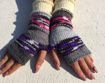 sale off 20%! Knit Fingerless gloves  Mittens  Long Arm Warmers  Boho Glove  Women Fingerless Wrist Warmers Gift ready to ship!