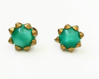 Green Earrings, VintageEarrings, Screw on Earrings, Small Earrings, Something Old, Bride to be Gift