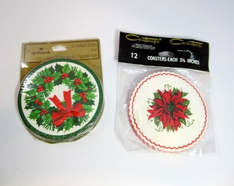 2 Packages Vintage Paper Christmas Coasters 28 Total