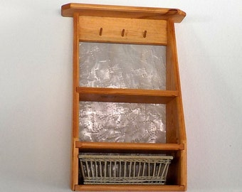 NEW Handcrafted Wood Shelf With Basket Drawer, 3 peg hangers, light stain finish, bathroom, kitchen, home office