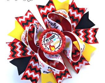 Firefighter baby ~ firefighter dad ~ firefighter hair bow ~ firefighter daddy ~ fireman hair bow ~ fireman dad ~ fire fighter baby
