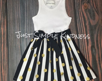 Girls Black White Stripe Dress, Girls Dresses, Black White Gold Dress, Girls Gold Dredd, Baby Girl Dress, Girls summer dress, fall dress