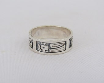 Vintage Sterling Silver Carved Thunderbird Band Ring Size 8.75
