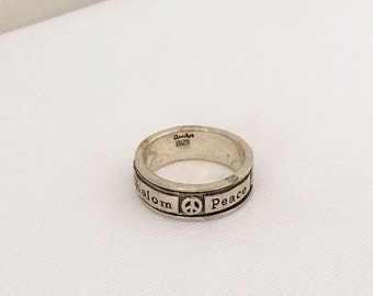 Vintage GEOART Sterling Silver Shalom Peace Band Ring Size 9