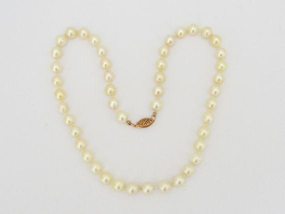 Vintage 14K Rose Gold Pearl Single Strand Necklace