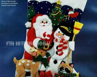 "Bucilla Santa and Frosty ~ 28"" Jumbo Felt Christmas Stocking Kit #83119 Animals DIY"