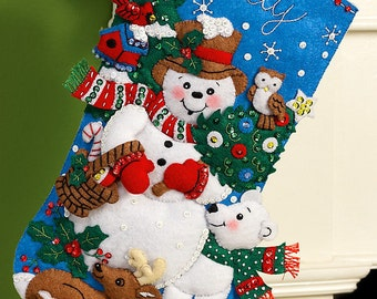 "Bucilla Snow Friends ~ 16"" Felt Christmas Stocking Kit #86438 Snowman, Animals DIY"
