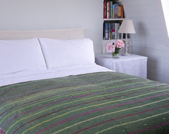 KANTHA THROW - Green with coloured stripes. Reverse turquoise plaid - Unique, one of a kind.
