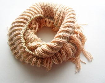 Knit Cowl Scarf - Fringed Cowl - Hand Knit Beige and Peach Mini Infinity Scarf with Tassels - Knitted - Fall / Winter - Made in Canada