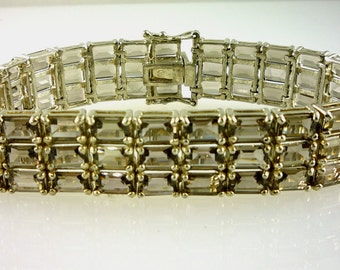 Light Brown Smokey Topaz Emerald Cut Triple Row Bracelet 44.00 CTW 925 Sterling Silver