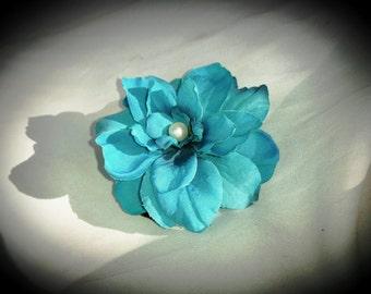 TURQUOISE HAIR CLIP,  Hawaiian Delphinium, Pearl, Swarovski Crystal, Bridal Hair, flower clip, Silk Hair Flower, Beach Wedding, Tropical