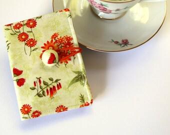 Tea Bag Wallet, Card Holder, Travel Tea Purse, Tea Caddy, Teacher Gift - Orange Wildflowers, Green Leaves, Native Flowers, Flora