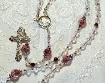 Garnet, Lampwork, crystal Rosary Heirloom