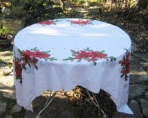 Rectangle Christmas tablecloth, poinsettia, ornaments, pine tree, pine cones, red green white tablecloth, 60 x 90 inches