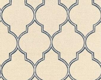 Schumacher Algiers Embroidery Pillow Cover in Indigo