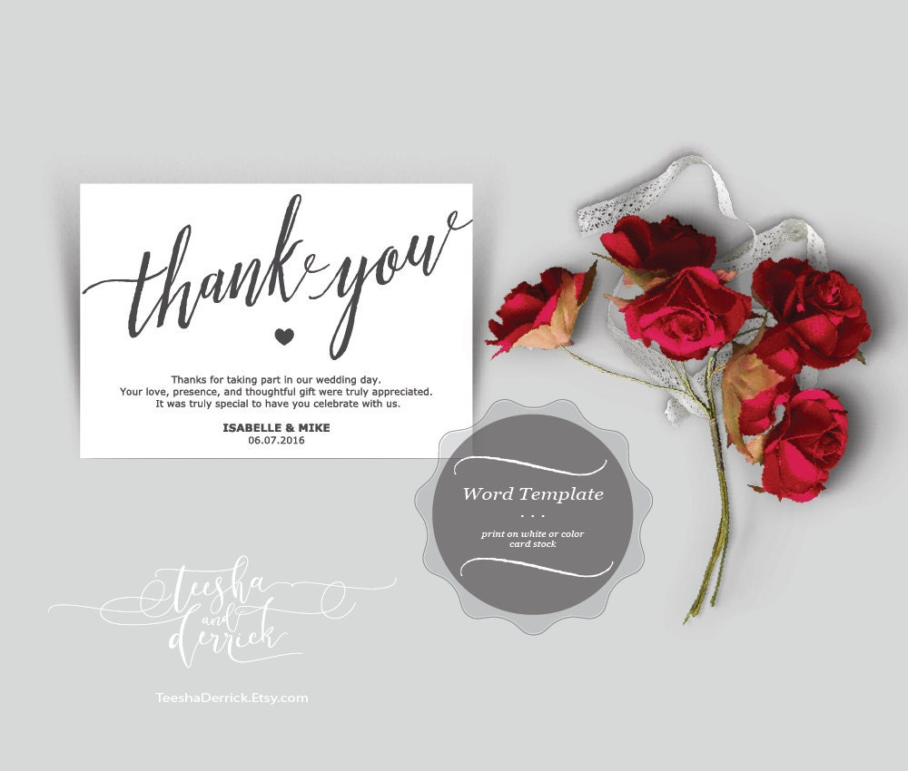 Thank You Card Printable Word Template Editable By