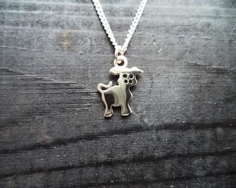 Cute small solid silver piggy pendant and chain