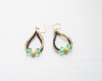 Fashion loop earrings, black,gold and green
